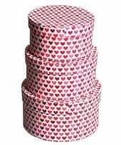 Rond kado doosje hartjes rood 16 cm